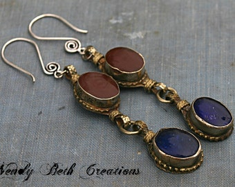 Chocolate Brown and Navy Blue Kuchi Assemblage Earrings - Tribal, Belly Dance, ATS