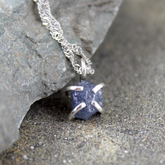 Uncut Raw Rough Blue Sapphire Pendant - Sterling Silver  -  September Birthstone - Handmade and Designed by A Second Time