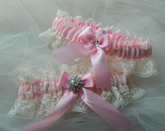 Garter Wedding, Bridal Garter, Pink Wedding, Keep Garter, Toss Garter, Pink Wedding Garter Set