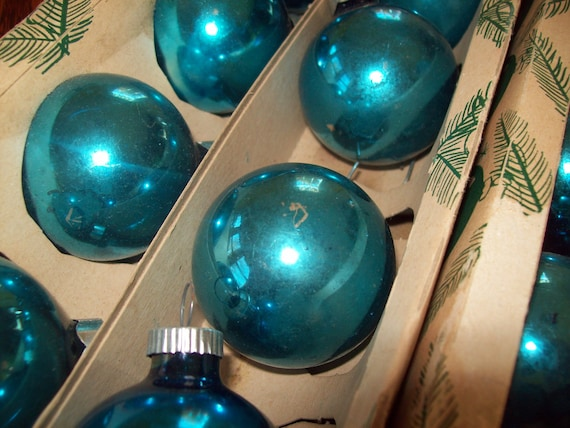 Coby Glass Christmas Tree Ornaments : Vintage coby teal glass christmas tree ornaments