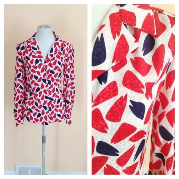Vintage Oversized Blouse. Red. Navy. White. Geometric Pattern. Size Medium/ Large. Nautical. Long Sleeve Blouse. 1980s.