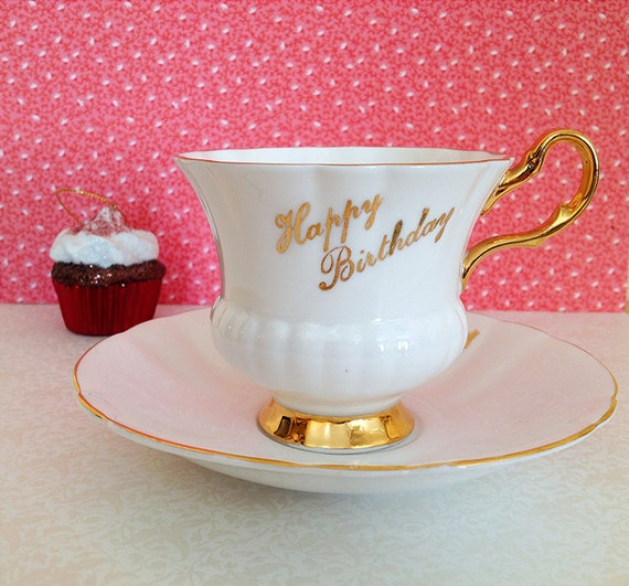 Vintage Happy Birthday Teacup and Saucer. White. Gold Accent. Alice in Wonderland. Dainty. Serving. Home Decor. Gift. 1970s. KHL Fine China.