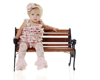 Lace ROMPER with Shoulder Straps and Bow & Matching HEADBAND  S, M, or L Floral Satin