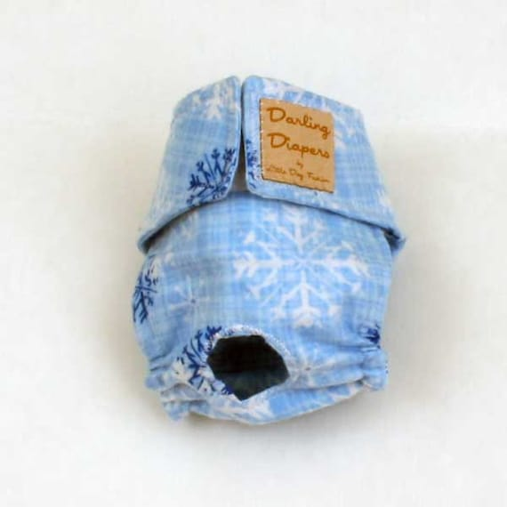 dog Diaper, Washable, Reusable, Cloth diaper for small Dogs,  Blue, Plaid, Snowflakes