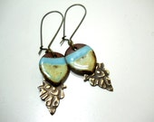 Ceramic and Brass Dangle Earrings, Embossed Antiqued Brass, Elaine Ray Multi layered Cascade Drop Beads, Rustic Fashion, Natural Jewelry