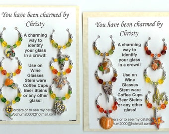 Harvest Fall Thanksgiving WINE CHARMS  set of 12 w Pouch