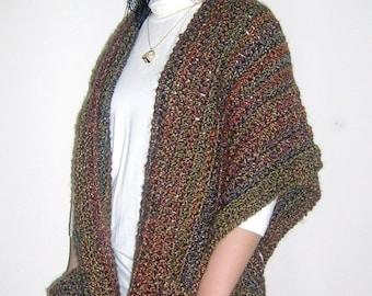 Pdf Crochet Pattern Indian Summer Ruana Wrap Shawl