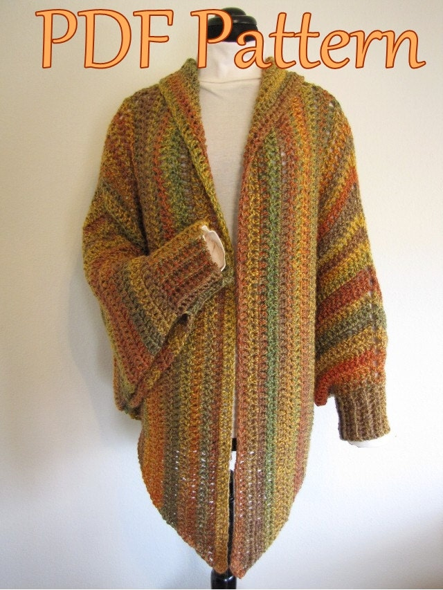 Free Crochet Pattern For Shawl With Sleeves : PDF Crochet Pattern Quick and Easy Cuffed Cape