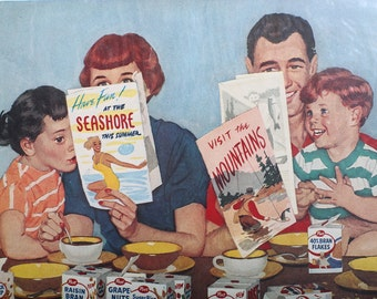 1957 Original Cereal Advertisement Post - Tens variety pack by Dick Sargent from LIFE Magazine