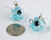 The 'Invisible' Transparent Aqua Turquoise Dragon Lampworked Glass Earrings
