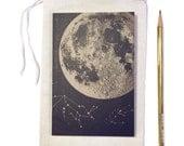 Moon Journal, small blank notebook, moon notebook, space journal, small travel notebook, Moon art with animals constellation