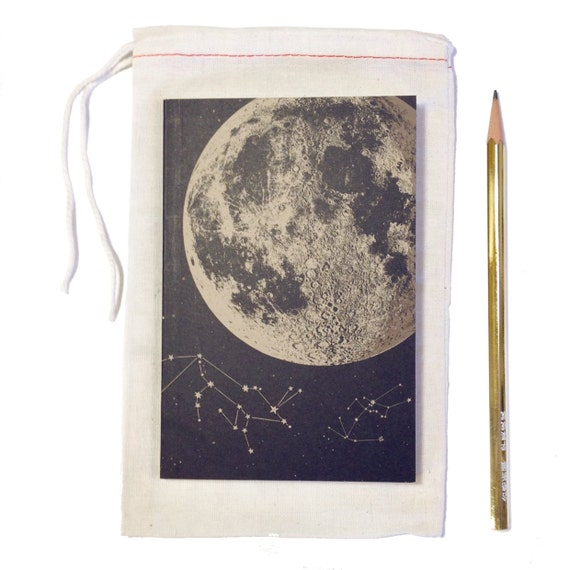 Full Moon Journal, blank sketch book, recycled paper, small pocket size, luna constellation design with starts and animals