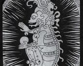 Lord of Death- Mayan Doomsday 2012 hand pulled linocut block print