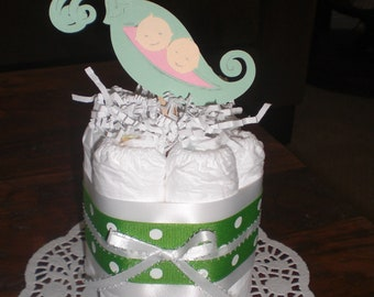 Pea Pod Diaper Cake or Twins Diaper Cake other colors and sizes available