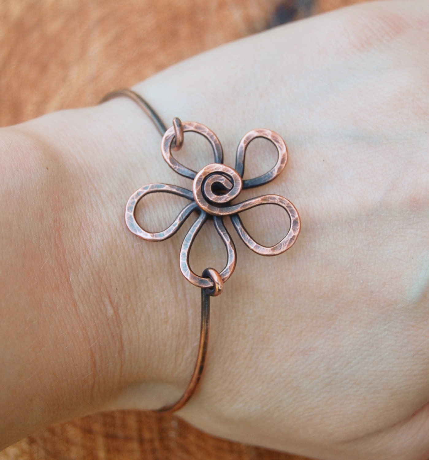 Wire Bracelets With Charms 2: Flower Bracelet. Metal Flower. Wire Flower. Oxidized Copper