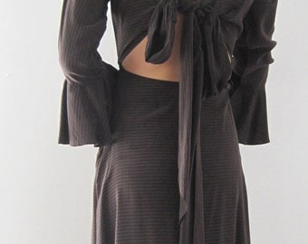 BASIA DESIGNS Brown Silk Striped  Two Way Dress - Free Shipping