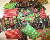 30 Mini Pillow Boxes Traditional Christmas Theme with a Twist