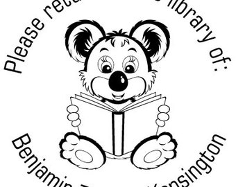 From the Library of  Reading Bear Custom Rubber Stamp - book plate
