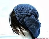 Knit Hat, Hand Knit Hat, Cableret in Denim, Slouchy Hat, Blue Knit Hat, Womens Beret, Winter Hat, Slouchy Knit Hat, Womens Knit Hat
