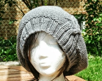 Slouchy Hat, Knit Hat, Hand Knit Hat, Womens Hat, Knit Beanie, Gray Hat, Womens Knit Hat, Handmade Hat, Slouchy Beanie Hat, The Cableret Hat