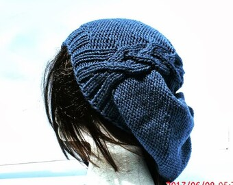 Hand Knit Hat - The Cableret in Denim