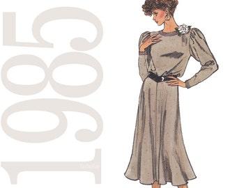 80s Blouson Dress Vintage Pattern - Size 12, 14, 16 - Vogue 9369 - Uncut, Factory Folds - 1980s Dress Sewing pattern