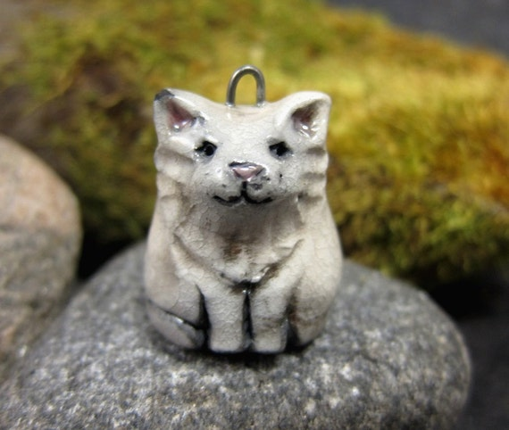 White Kitty...Saggar Fired Rustic Pendant