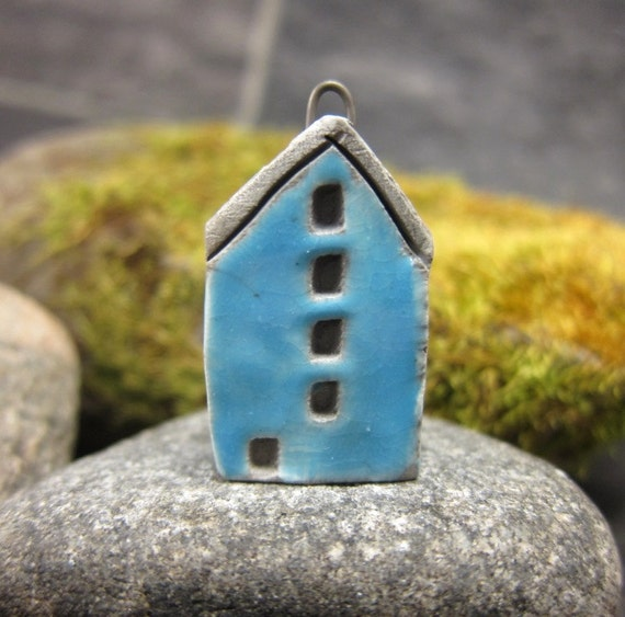 Blue...Saggar Fired Rustic House Pendant / Ornament