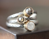 Natural Silvery White Diamond Stacking Ring- engagement, sterling silver, 14kt gold