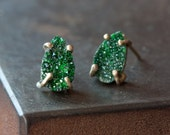 Green Uvarovite Garnet Stud Earrings-druzy- studs- posts- prong setting- natural- as seen on Rachel Bilson