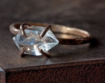 Herkimer Diamond Crystal RIng in Rose Gold