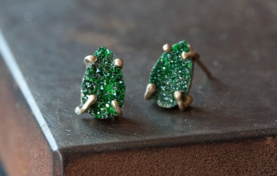 Green Uvarovite Garnet Stud Earrings-druzy- studs- posts- prong setting- natural- as seen on Rachel Bilson