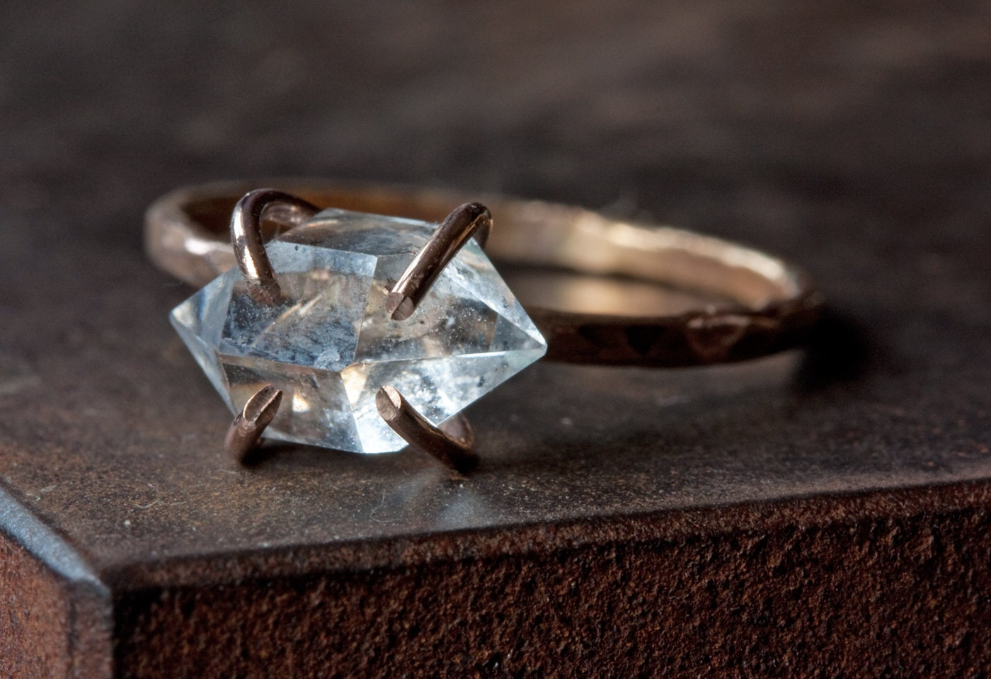 Herkimer diamond crystal ring in rose gold zoom junglespirit Image collections