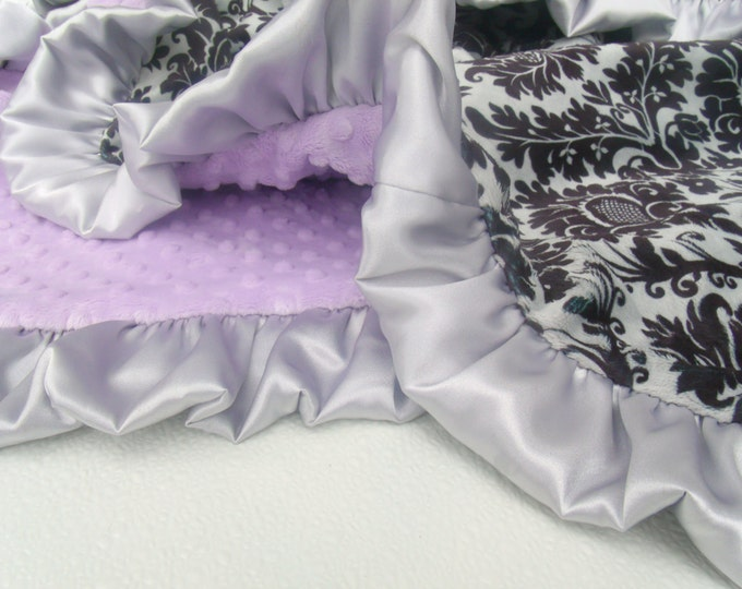 Lavender Minky Dot with Gray and Black Damask Minky Baby BlanketCan Be Personalized