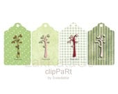 Clip Art TG04 - 4 Vintage Tags Cut Outs GREENS with Trees (Zakka Styled) - Thank You Gift Tags