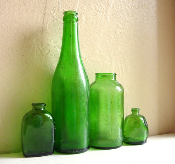 Collection of old green glass bottles home decor by for Baltimore glassware decorators