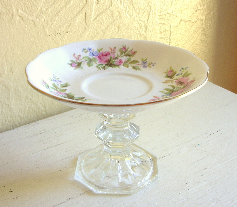 Pedestal Trinket Dish Upcycled Vintage White Pink Green Floral