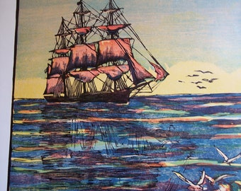Vintage nautical art print, Clipper Ship, Sailing Ship, 1936 Woodcut Engraving - Staffordshire