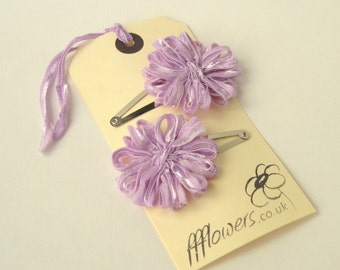 Flower Hair Clips, lilac ribbon flowers