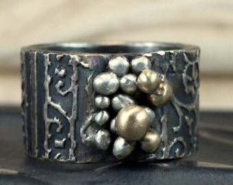 14k Gold and Sterling Ring - Textured Wide Band Pebbles Ring