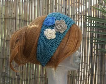 Handmade Knit Turquoise Head Wrap Earwarmer Headband with Crochet Three Flower-2