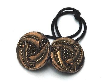Hair Accessory Ponytail Holder, Vintage Glass Button, Trifoil Leaf Design