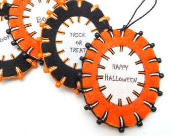 Wool Felt Halloween Word Ornaments with Beading - Set of 4