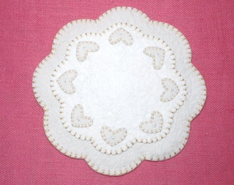 Wedding / Valentine Heart Design Penny Rug Style Candle, Table, or Tree Mat - 13 Inches
