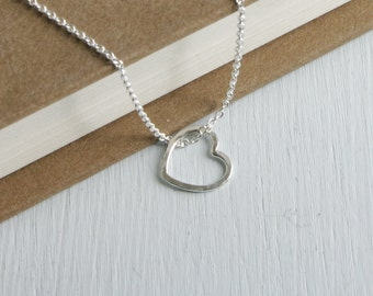 Dainty Sterling Silver Hammered Heart.  Free Domestic Shipping.