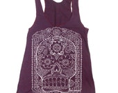 Womens Day of the DEAD american apparel Tri-Blend Racerback Tank Top S M L (10 Color Options)