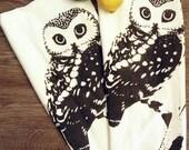 Set of 2 Towels - OWL - Multi-Purpose Flour Sack Bar Towels - Renewable Natural Cotton
