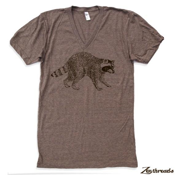 Unisex Urban RACCOON Tri Blend V Neck T Shirt american apparel XS  S  M  L (2 Color Options)