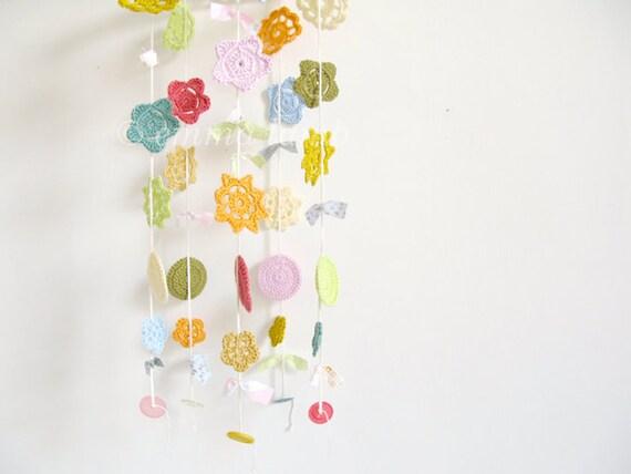 NEW crochet flower mobile... Delilah - Merry Mobile, medium ...Ready to ship - by Emma Lamb