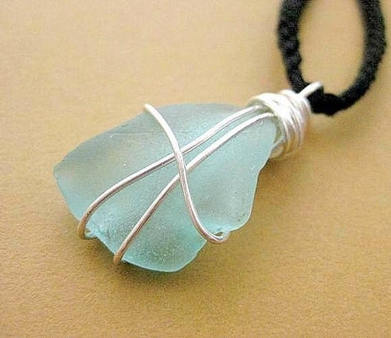 Reserved. Aquamarine Seaglass Pendant from Ireland. Irish Beach Glass Necklace. Pale Blue 'Cool Water'